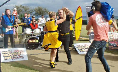Gold Coast dancers on show during the Today Show's broadcast from Coolangatta.